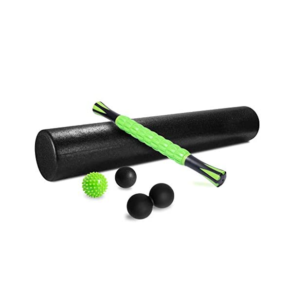Comgrow 36″ High-Density Round Foam Roller, 5-in-1 Foam Roller Exercise Set with Massage Roller Stick, Spiky Massage Ball, Deep Tissue Ball and Peanut Massage Ball for Muscles