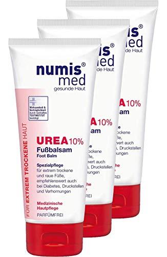 numis med Fußbalsam mit 10% Urea - Fußpflege parfümfrei & vegan - Fußcreme für extrem trockene, raue & rissige Füße - Fusscreme im 3er Pack (3x 100 ml)