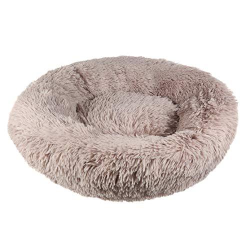 Riverside Khaki Dog Bed Fluffy Snug Donut Puppy Pet Cushion Calming Comfy Mattress (40cm XXS)