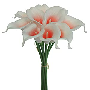 Lily Garden Artificial Picasso Calla Lily Flower Bouquets (Coral and White)