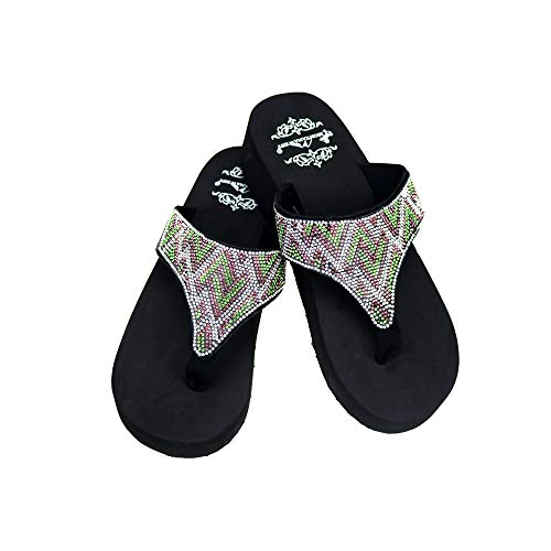 Montana West Rhinestone Shoes for Women Wedge Sandals Summer Beach Ladies Sandal Slippers Turquoise Size 10- SE87-S088TQ 10