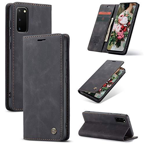 FMPC Handyhülle für Samsung Galaxy A31 Premium Lederhülle PU Flip Magnet Hülle Wallet Klapphülle Silikon Bumper Schutzhülle für Samsung Galaxy A31 Handytasche - Schwarz