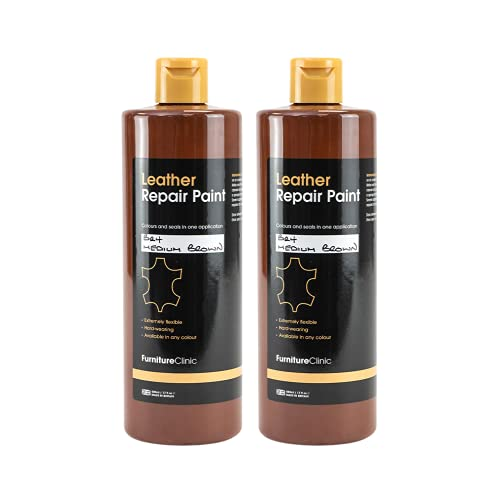 Furniture Clinic Leather Repair Paint & Dye   Self Seal Colourant for Quick and Easy Leather Repair   Suitable for Leather Sofas, Car Seat, Shoes, Handbag, and more - Dark Dark Brown (BR08) 60ml