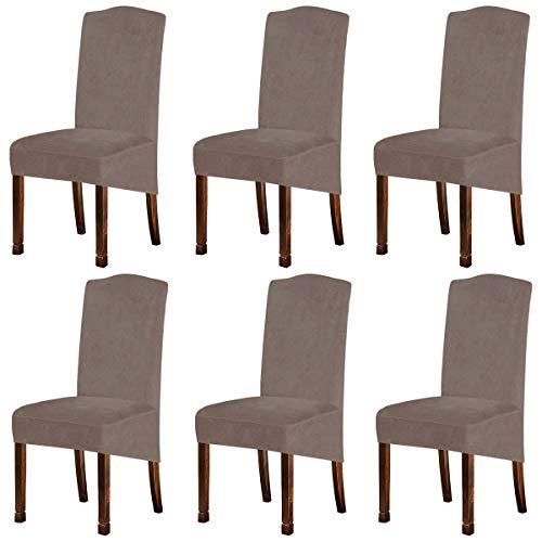 KELUINA XL Fundas para sillas de Terciopelo Felpa para sillas de Comedor, Fundas para sillas elásticas, tronas de Elastano, Fundas Protectoras con elástico para Comedor (Taque, 6 Piezas)