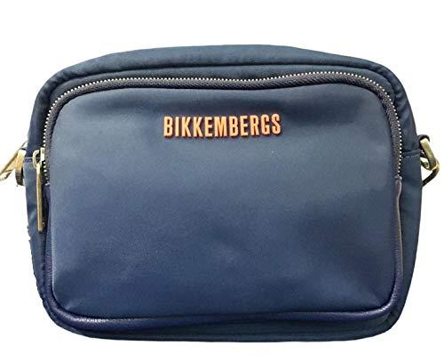 Bikkembergs Bolso de hombre tejido E1Q016 color azul marino 20 x 15 x 9 bolso de hombre casual colección 2021