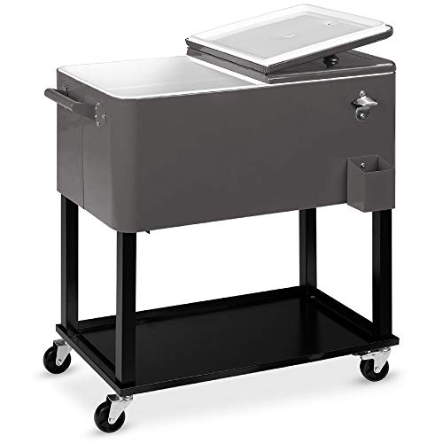 Best Choice Products 80qt Outdoor Steel Rolling Cooler Cart for Cookouts, Tailgating, BBQ w/Bottle Opener, Catch Tray, Drain Plug, and Locking Wheels - Gray