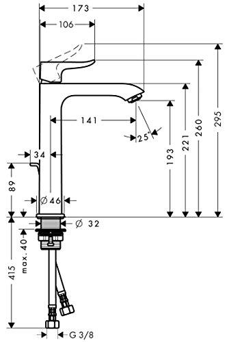 Hansgrohe – Einhebelarmatur, Waschtisch, ohne Ablaufgarnitur, ComfortZone 200, Chrom, Serie Metris - 7