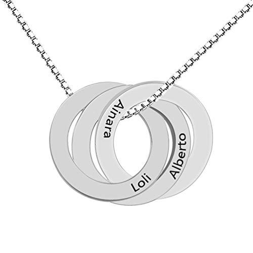 Zhaolian888 Collar Personalizado de Anillo Ruso con Colgante de círculo Grabado Entrelazado. Hecho de 2 a 5 Nombres.