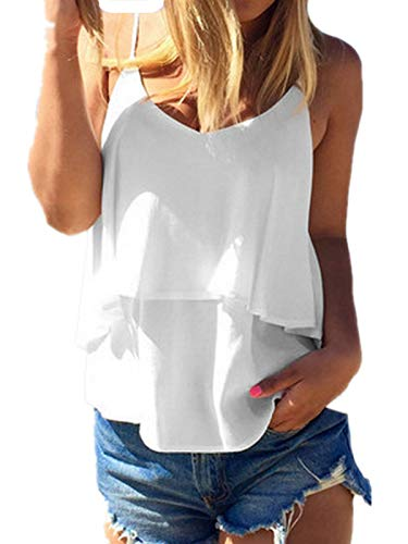 ZANZEA Mujer Camisetas Sin Mangas Verano Tube Top Sexy Cuello V Gasa Chaleco Chiffon Tirantes Backless Blusa 01-Blanco S