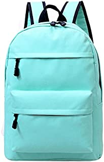 Pure Color Canvas Backpack Women Fashion Rucksack Girls Satchel School Bag