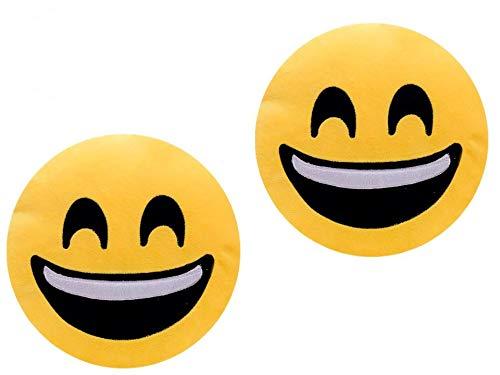 ML Pack 2 x Cojín Emoji gruñon, Almohada Emoji Emoticon Relleno Suave Juguete de Peluche 35x35x5cm Cada uno (Amarillo-sonrrisa)