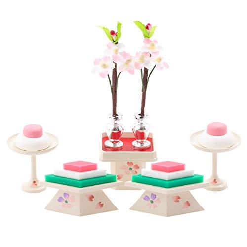 (赤ちゃんまーけっと) 雛人形 ひな人形 小道具 ミニ 15号(並)菱高三宝 アイボリー パステルカラー 菱餅 三宝 高杯 5点セット
