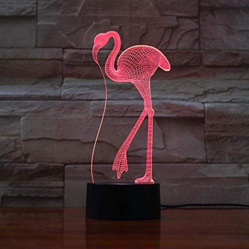 3D Illusion Lamp Led Night Light Flamingo 7 Color Changing Decorative Kids Girls Gift Animals Flamingo Desk Lamp Best Birthday Holiday Gifts for Children