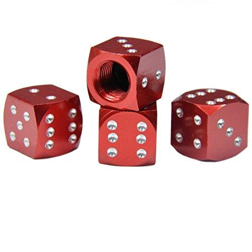 longyitrade Tapones para válvulas de neumáticos de Coche,diseño de Dados, 4 Unidades Rojo