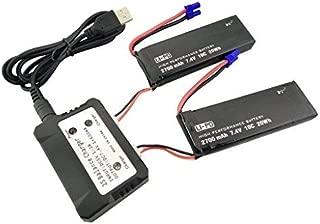 Fytoo Accesorios 2PCS 7.4V 2700mah Batería de Litio y 2 en 1 Cargador para Hubsan x4 H501SPro H501A H501C H501S H501M H501S W Repuestos de RC Quadcopter sin escobillas