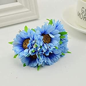 6Pcs Handmade Gerbera Fashion Home Garden Bride Diy Wreath Material Wedding Banquet Decoration Artificial Flower Scissors Crown,blue