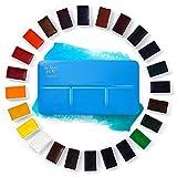 Paul Rubens Pintura de Acuarela, Juego de Pastel sólido de 24 Colores con Caja y Paleta de Metal Azul portátil, Rico Altamente pigmentado, Principiantes, Aficionados y Estudiantes.