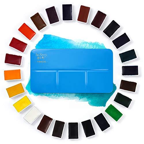 Paul Rubens Pintura de acuarela, juego de pastel sólido de 24 colores con caja y paleta de metal azul portátil, rico altamente pigmentado, perfecto para principiantes, aficionados y estudiantes.