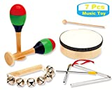 MUSICUBE 7 Pcs Kids Wood Musical Instruments, Percussion Set with Drums for Kids Children Musical Toys for School, Music Center