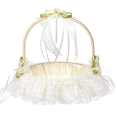 Demarkt Blumenkorb Vintage Weiß Satin Spitze Bowknot Hochzeit Körbe Blumenmädchen Korb Blumenkinderkörbchen