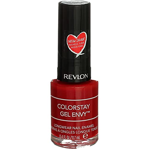 Revlon ColorStay Gel Envy Longwear Nail Polish, with Built-in Base Coat & Glossy Shine Finish, in Red/Coral, 550 All On Red, 0.4 oz