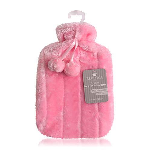 Luxus kuscheligem Kunstfell & Pom Pom Cover + Wärmflasche 2 Liter (Baby Rosa)
