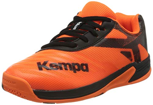 Kempa Unisex Kinder Wing 2.0 JUNIOR Sneaker, Fluo orange/schwarz, 34 EU