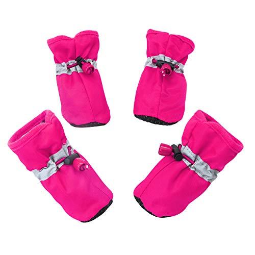 YAODHAOD Hundestiefel Pfotenschutz, Anti-Rutsch-Hundeschuhe Diese bequemen, weichen Sohle sind mit reflektierenden Riemen für kleine Hunde (2, Rosa)