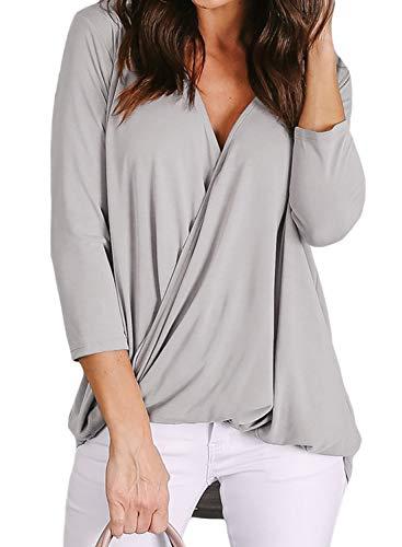 Lovezesent Plus Size Womens 3/4 Sleeve V Neck Wrap Twist Casual Loose Shirt Tops Elegant Drape Office Blouses for Work Gray XXL