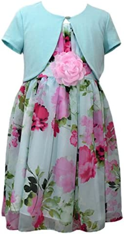 Bonnie Jean Girls Floral Pattern Chiffon Special Occasion Dress Cardigan Set Aqua 7 product image