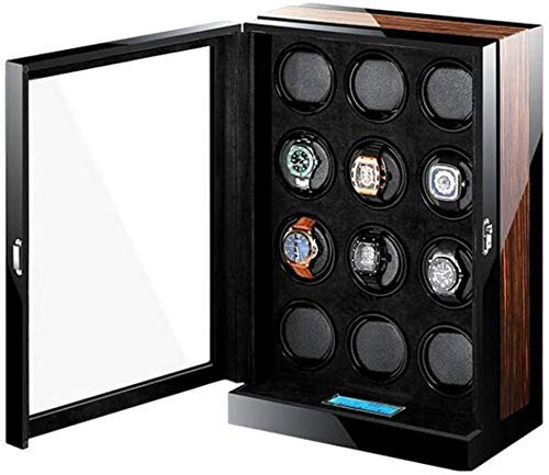 YLJYJ Caja enrolladora de Reloj Rectangular enrolladora silenciosa automática para 12 Relojes, Caja enrolladora de Reloj de Madera Doble con Motor silencioso