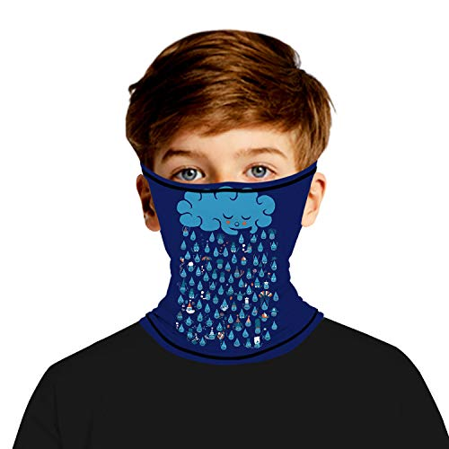 Unisex Print Kids Neck Gaiter Face Mask Multifunctional Seamless Bandana Ear Loops Scarf Mask for Outdoor Running Sports(Clouds, 7-10T)
