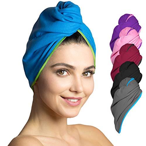 Fit-Flip Haarturban Set Mikrofaser – 2 Stück, saugstark und schnelltrocknend - Spezial Turban Handtuch als auch Haarhandtuch (blau-grün)