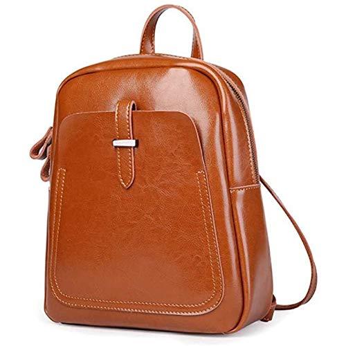 HHTD Mochila de Cuero Vintage Laptop Bookbag para Mujeres Hombres (Color : Brown)