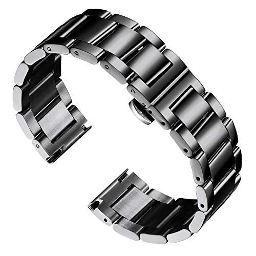 BINLUN Braccialetti Spessi in Acciaio Inossidabile Sostituzione Cinturino Cinturino in Metallo per Uomo Donna 16mm / 18mm / 20mm / 21mm / 22mm / 23mm / 24mm / 26mm con Fibbia a Farfalla