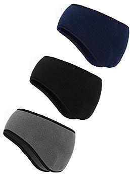 BBTO 3 Pieces Ear Warmer Headband Winter Headbands Fleece Headband for Women Men  Black Gray Navy