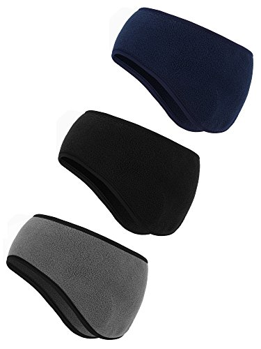 BBTO 3 Pieces Ear Warmer Headband Winter Headbands Fleece Headband for Women Men (Black, Gray, Navy)