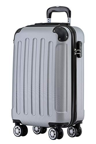 BEIBYE Hartschalen-Koffer Trolley Rollkoffer Reisekoffer Handgepäck 4 Rollen (M-L-XL-Set) (Silber, M)