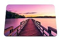 22cmx18cm マウスパッド (桟橋の湖の夕焼け空) パターンカスタムの マウスパッド