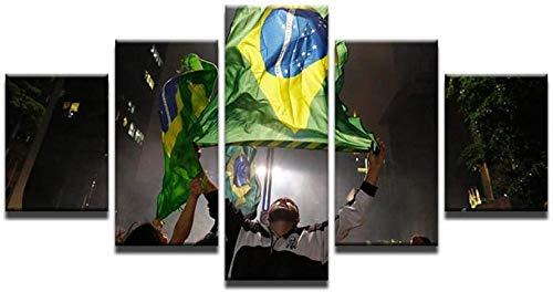 bnkrtopsu 5 Cuadro en Lienzo 5 Fotos Juntas en una Sala de Estar Dormitorio Creativo murales Decorativos y Carteles(Sin Marco) Bandera del Carnaval de Brasil