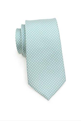 PUCCINI Frische Krawatte Herren, Pastellfarben, Gepunktet, verschiedene Farben, Mikrofaser, 8,5 cm breit, Handarbeit (Mint)