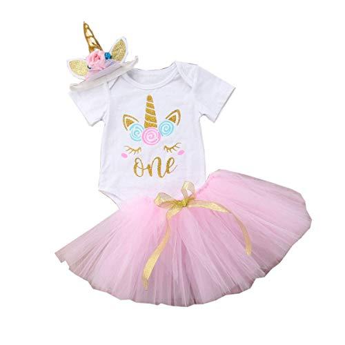 3PCS Unicorn Outfit Newborn Baby Girls 1st Birthday Romper + Tutu Skirt Dress + Headband Clothing Set Pink