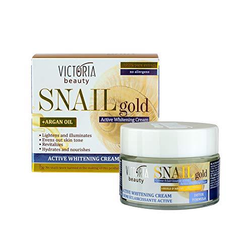 Victoria Beauty - Aufhellende Creme mit Arganöl und Schnecken-Extrakt, Anti Aging Whitening Cream gegen Altersflecken, Dunkle Flecken Aufhellern, Snail Gold Detox (1 x 50 ml)