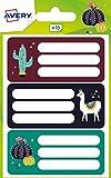 Avery España ECOL15L-UK .Pegatinas para libros y cuadernos 76x34mm, lama & cactus- 15 etiquetas por...
