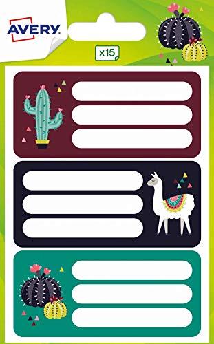 Avery Spanien ECOL15L-UK Aufkleber für Bücher und Hefte 76 x 34 mm, Blatt & Kaktus - 15 Etiketten pro Umschlag