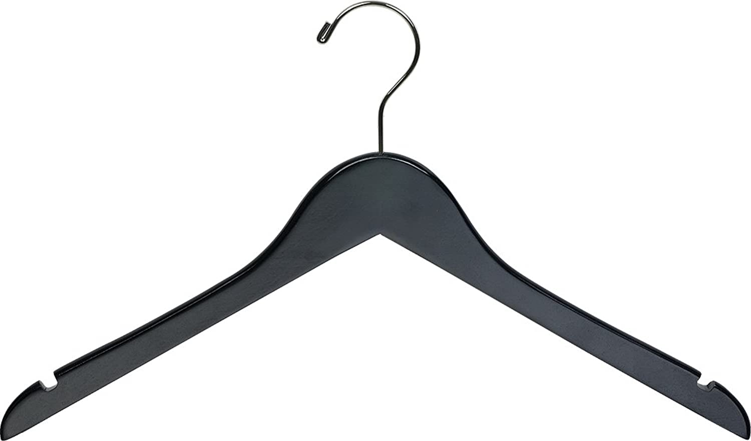 The Great American Hanger Company Black Wood Top Hanger, Box of 100 Space Saving 17 Inch Flat Wooden Hangers w Chrome Swivel Hook & Notches for Shirt Jacket or Dress