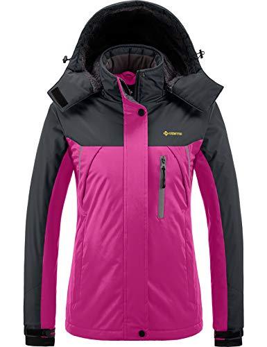 GEMYSE Chaqueta de esquí Impermeable de montaña para Mujer Abrigo de Invierno al Aire Libre de Lana a Prueba de Viento con Capucha (Rosa roja Gris,XL)