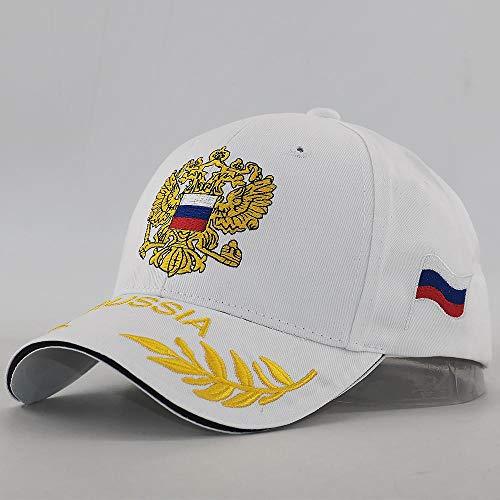 Gorra Emblema Bordado Gorra Rusia Patriot Gorra de Béisbol Algodón Ajustable Moda Snapback Sombreros Hombres Mujeres Verano Papá Sombrero Nuevo Blanco