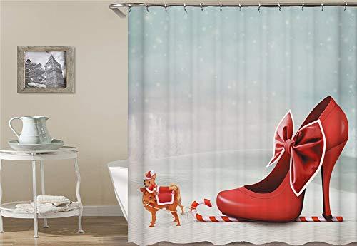 ZZZdz hondenslee hemelsblauw sneeuwvlok High Heels, rood douchegordijn waterdicht gemakkelijk te reinigen. 180 x 180 cm.