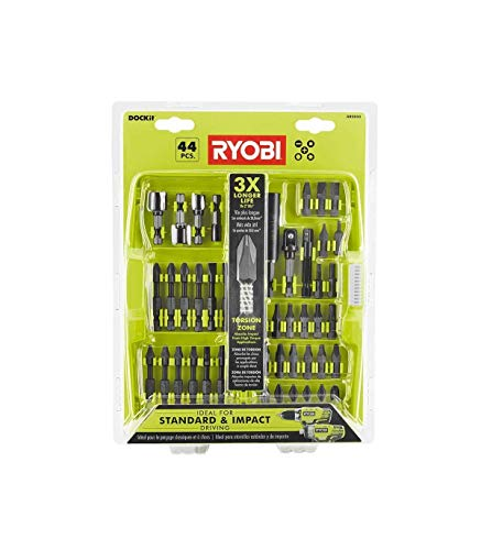 Impact Driving Kit AR 2025 for Drilling w/Carrying Case Steel 44 Pc Piece Ryobi DOCKit